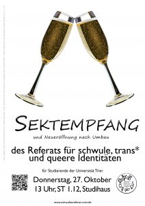 Sektempfang am 27.10. ab 13 Uhr in ST 1.12